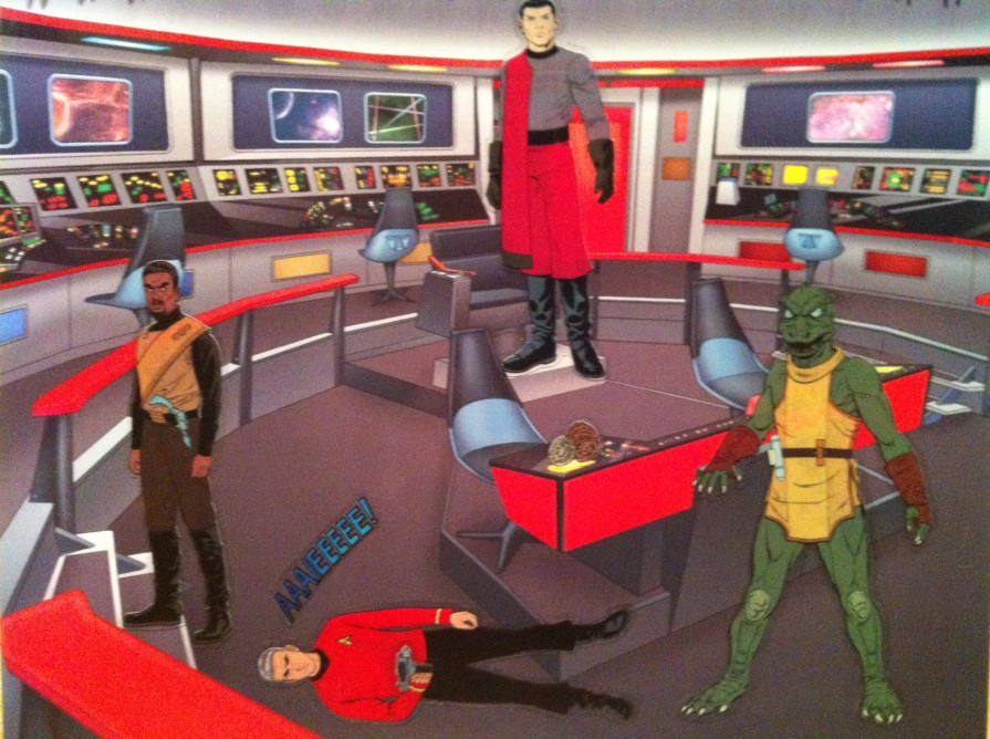 The time Captain Kirk went on an away mission, leaving a redshirt in command of the ship. Then, a Romulan, a Klingon, a Gorn, and Tribbles took over the ship.